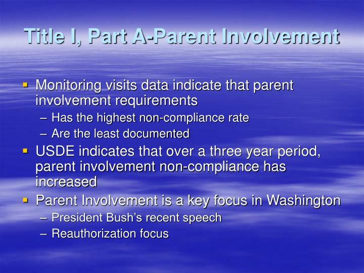 Title I, Part A-Parent Involvement