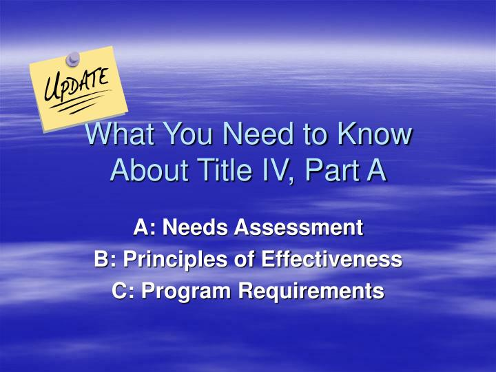What You Need to Know About Title IV, Part A
