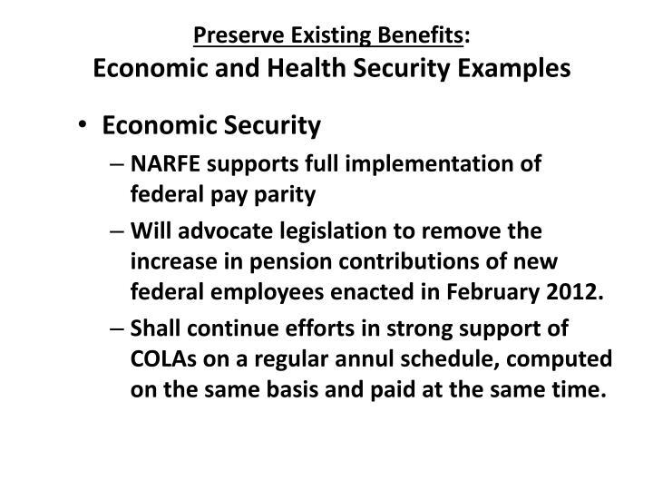 Preserve Existing Benefits