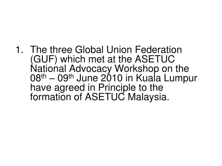 The three Global Union Federation (GUF) which met at the ASETUC National Advocacy Workshop on the 08