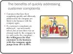 the benefits of quickly addressing customer complaints