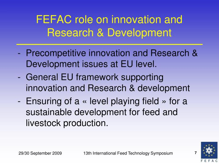 FEFAC role on innovation and Research & Development