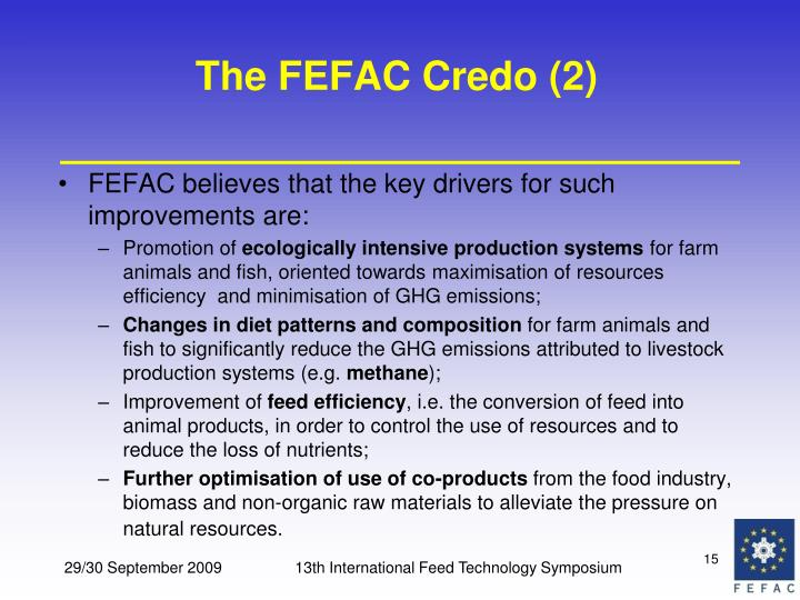 The FEFAC Credo (2)