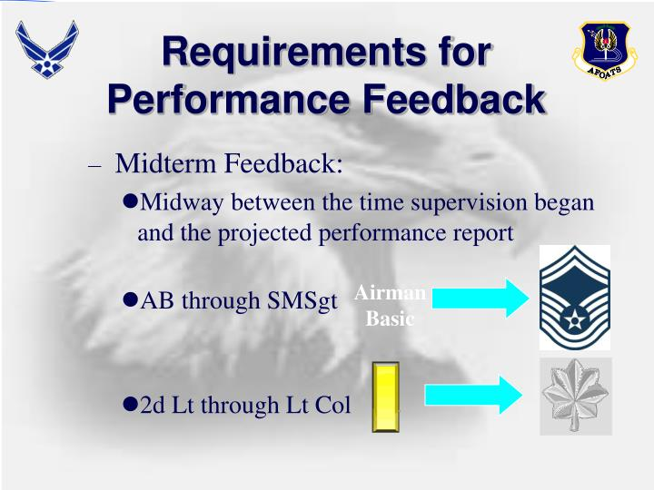 Requirements for Performance Feedback