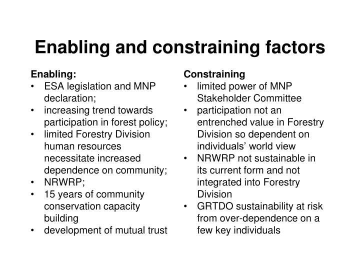 Enabling and constraining factors