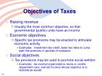 objectives of taxes