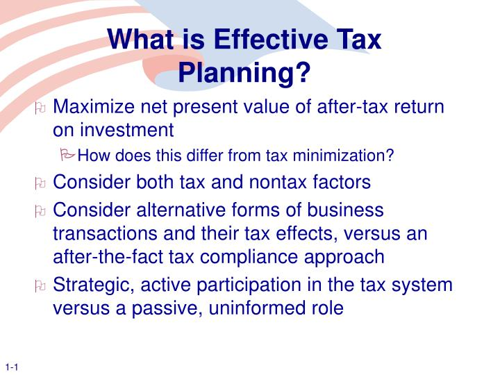 what is effective tax planning