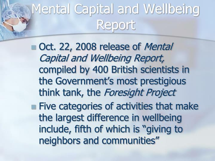 Mental Capital and Wellbeing Report