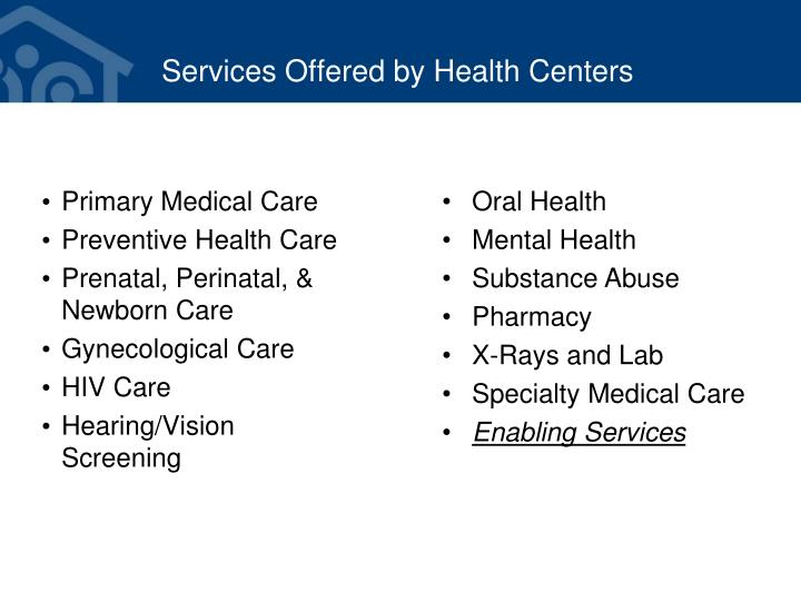 Services Offered by Health Centers