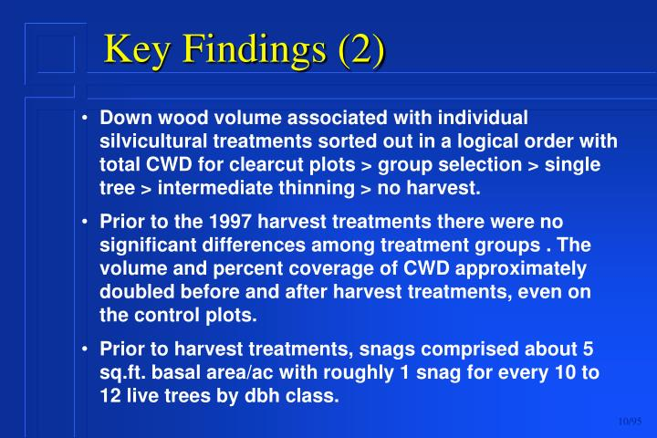 Down wood volume associated with individual silvicultural treatments sorted out in a logical order with total CWD for clearcut plots > group selection > single tree > intermediate thinning > no harvest.