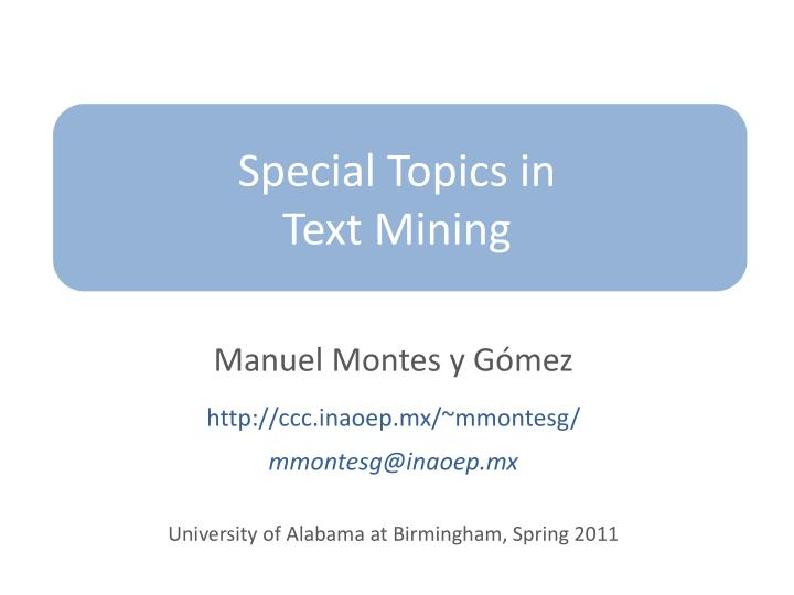 special topics in text mining n.
