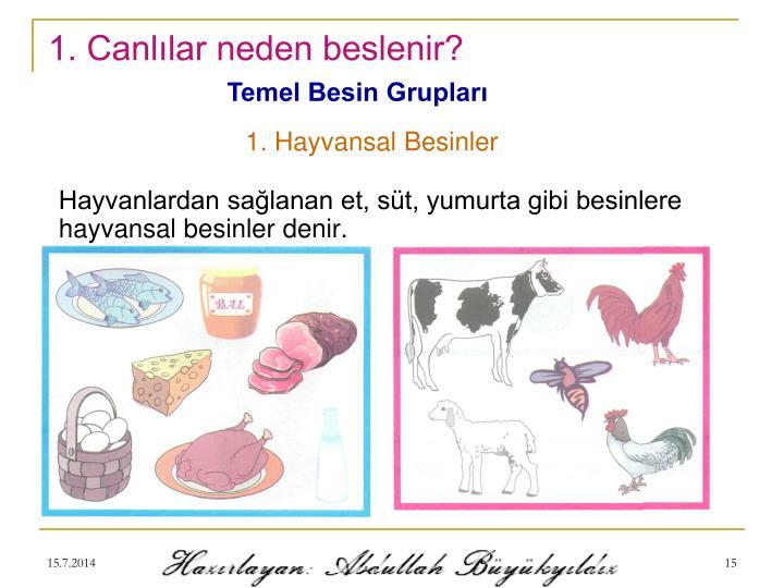 1. Canlılar neden beslenir?