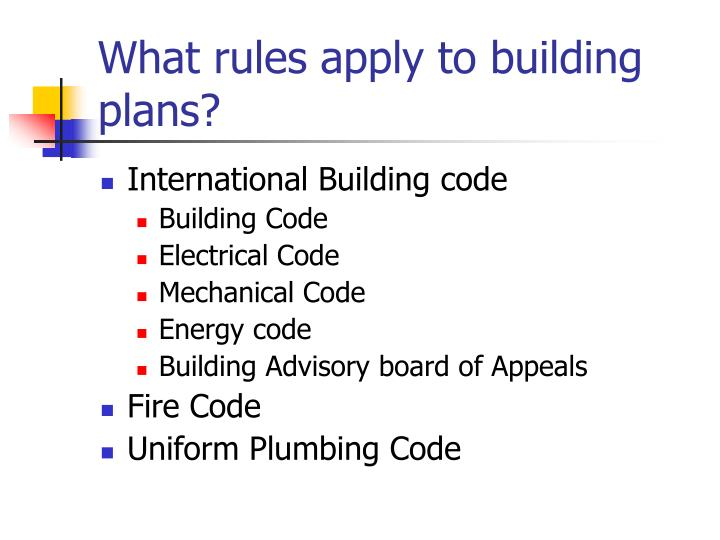 What rules apply to building plans?