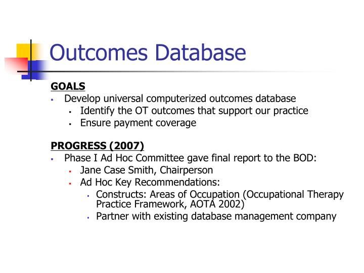 Outcomes Database