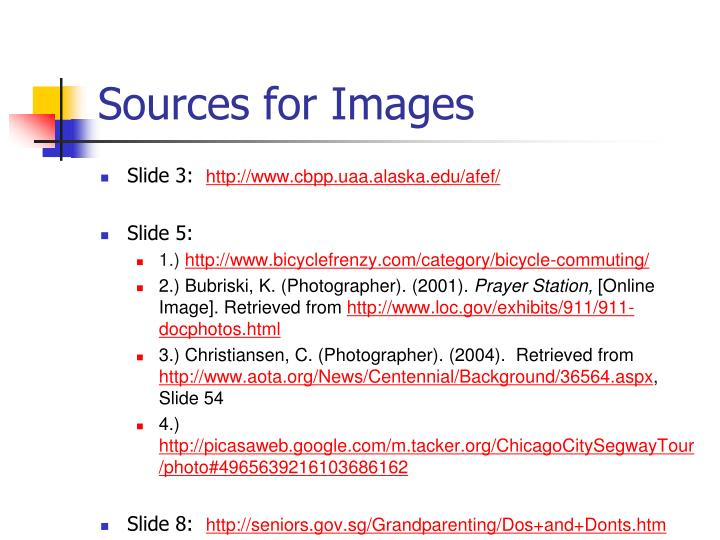 Sources for Images