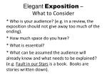 elegant exposition what to consider