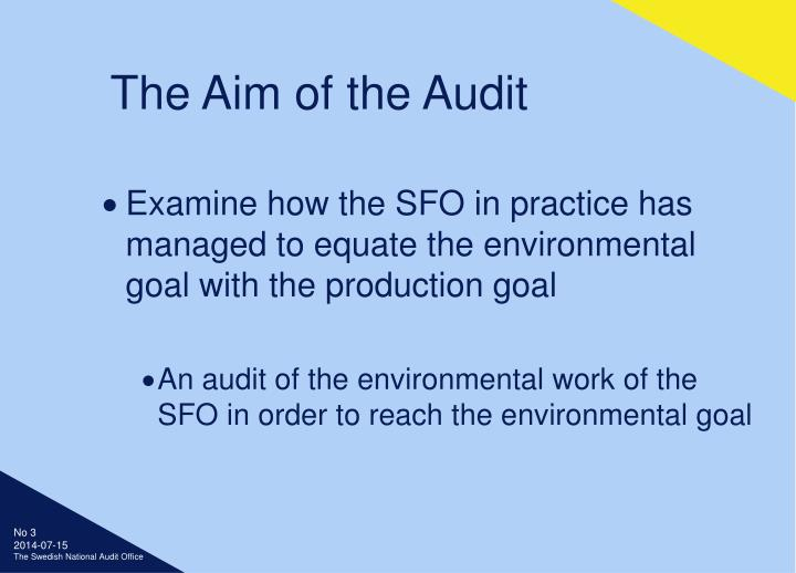 The aim of the audit