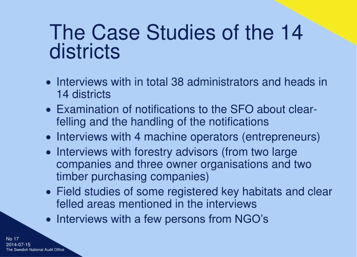 The Case Studies of the 14 districts