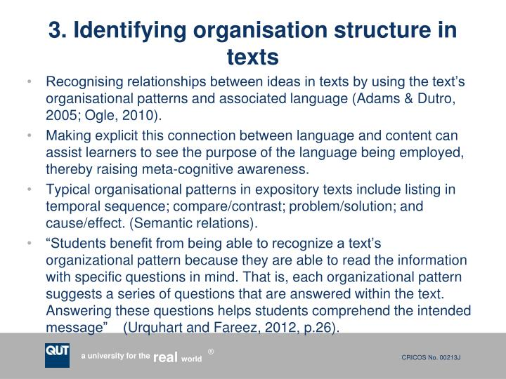 3. Identifying organisation structure in texts