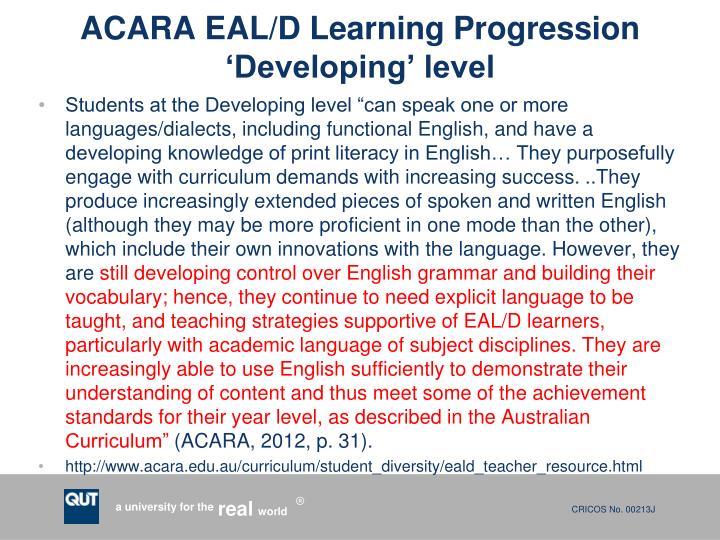 ACARA EAL/D Learning Progression