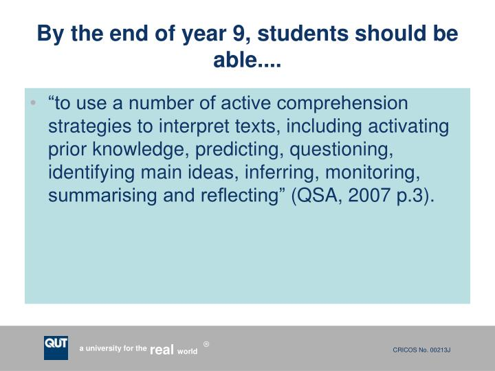 By the end of year 9, students should be able....