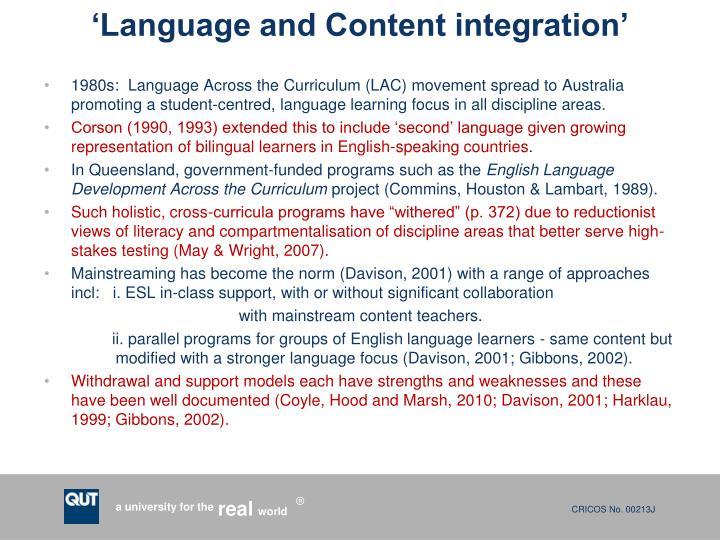 'Language and Content integration'