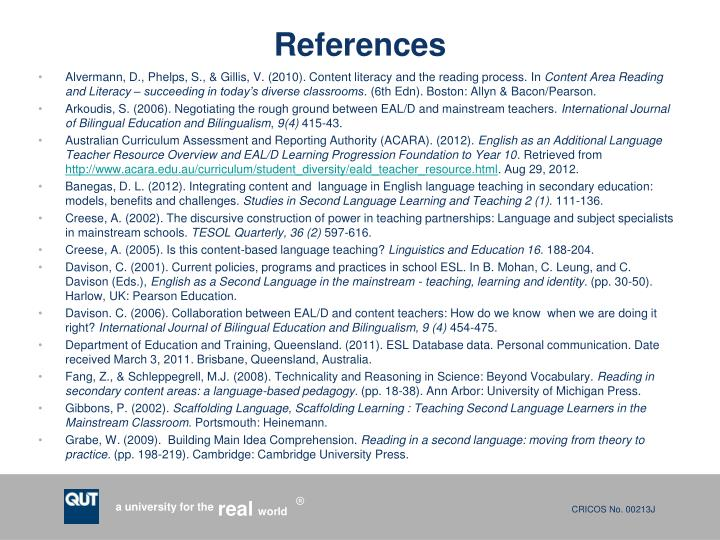Alvermann, D., Phelps, S., & Gillis, V. (2010). Content literacy and the reading process.