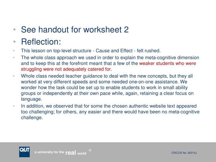 See handout for worksheet 2