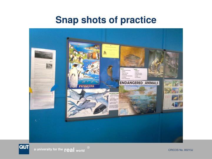 Snap shots of practice