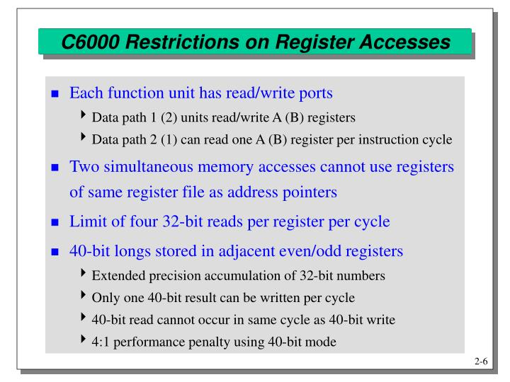 C6000 Restrictions on Register Accesses