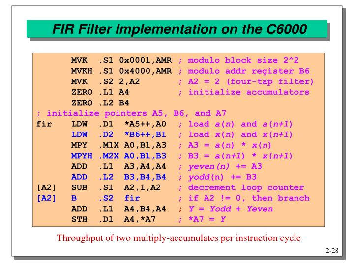 FIR Filter Implementation on the C6000