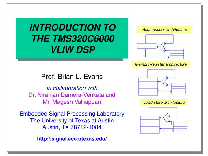 Introduction to the tms320c6000 vliw dsp