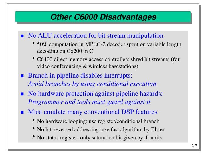 Other C6000 Disadvantages