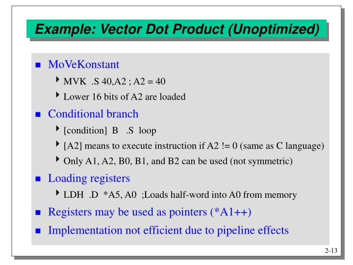 Example: Vector Dot Product (Unoptimized)