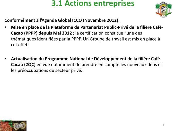 3.1 Actions entreprises