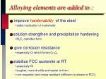 alloying elements are added to