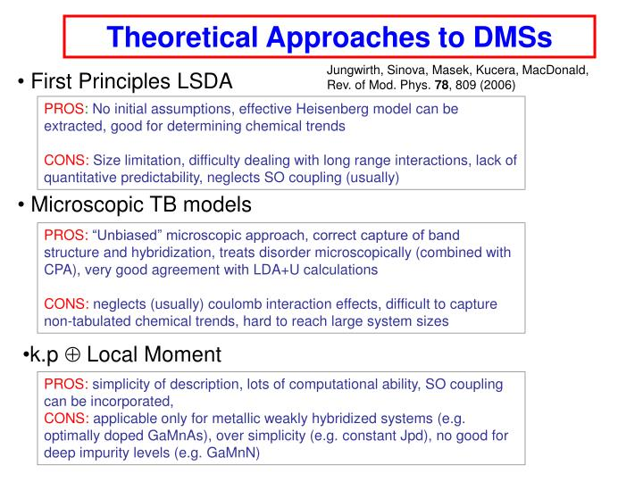 Theoretical Approaches to DMSs