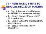 iv nine basic steps to ethical decision making