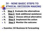 iv nine basic steps to ethical decision making1