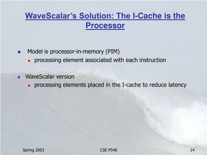 WaveScalar's Solution: The I-Cache is the Processor
