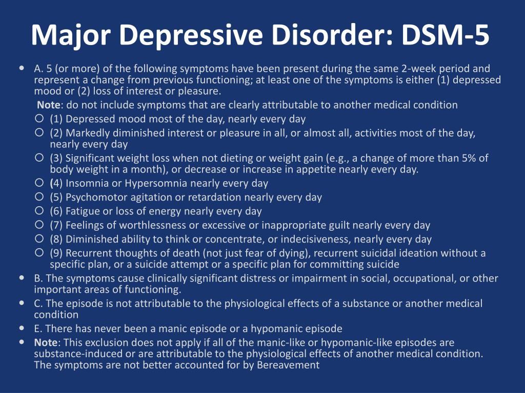 PPT - Major Depressive Disorder PowerPoint Presentation ...