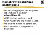 homebrew 64 256kbps packet radio