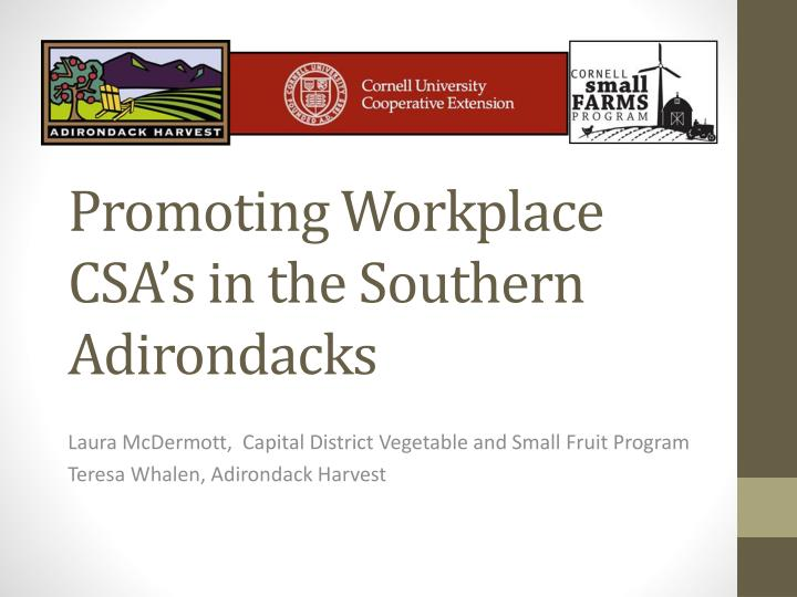 promoting workplace csa s in the southern adirondacks