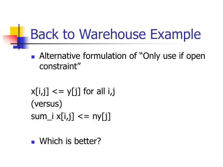 Back to Warehouse Example