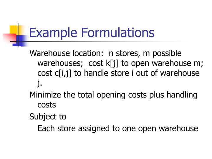 Example Formulations