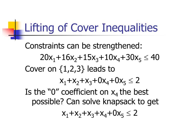 Lifting of Cover Inequalities