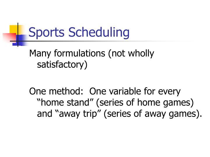 Sports Scheduling