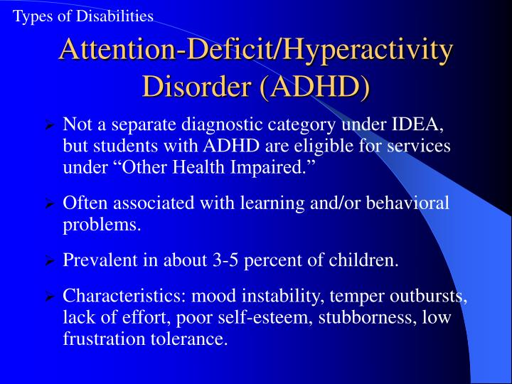 a description of attention deficit hyperactivity disorder adhd Attention-deficit hyperactivity disorder, unspecified type 2016 2017 2018 billable/specific code f909 is a billable/specific icd-10-cm code that can be used to.
