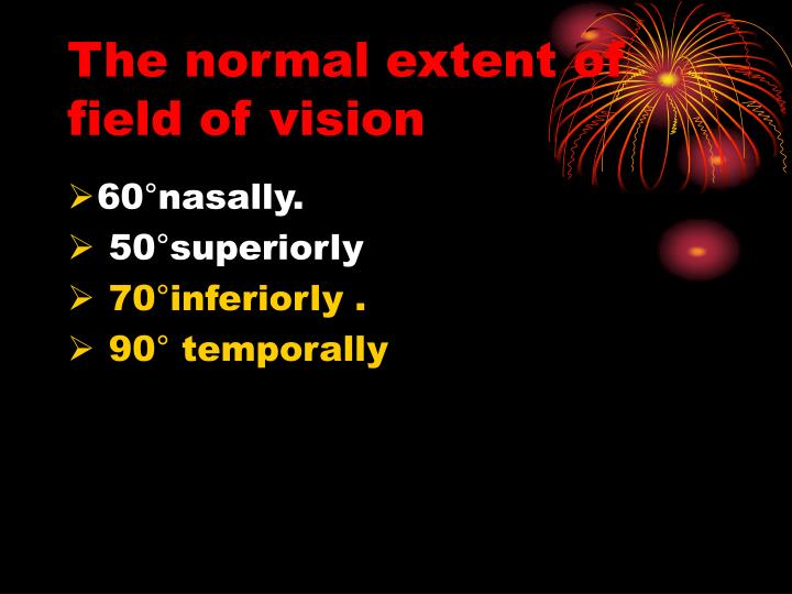 The normal extent of field of vision