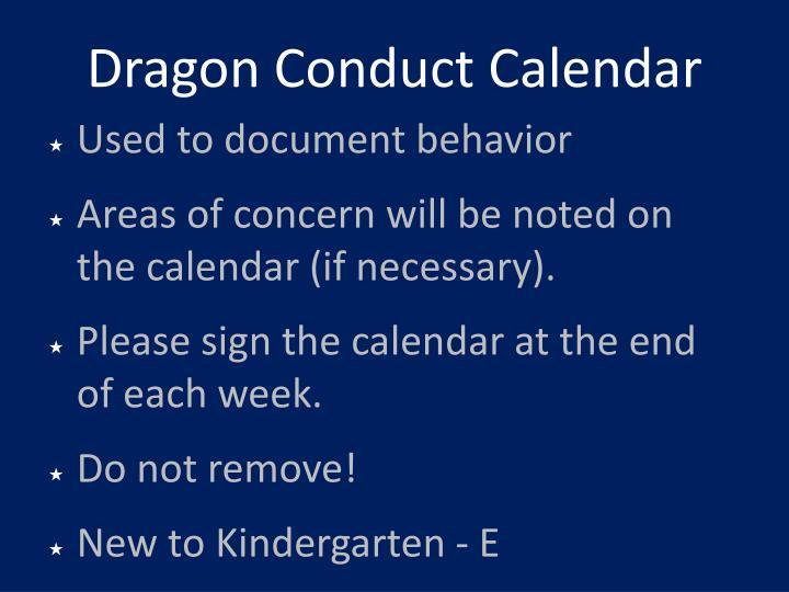 Dragon Conduct Calendar